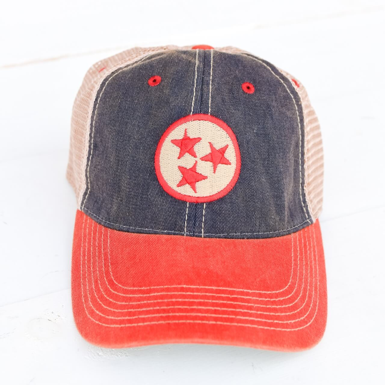 9708b5e0 TN Tristar Navy/Red Trucker Hat   Southern Made Tees